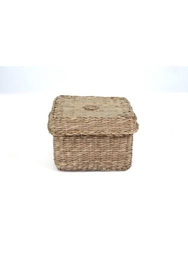 Kanca Ev Natürel Hasır  Kapaklı Sepet Kare Küçük  Kahve